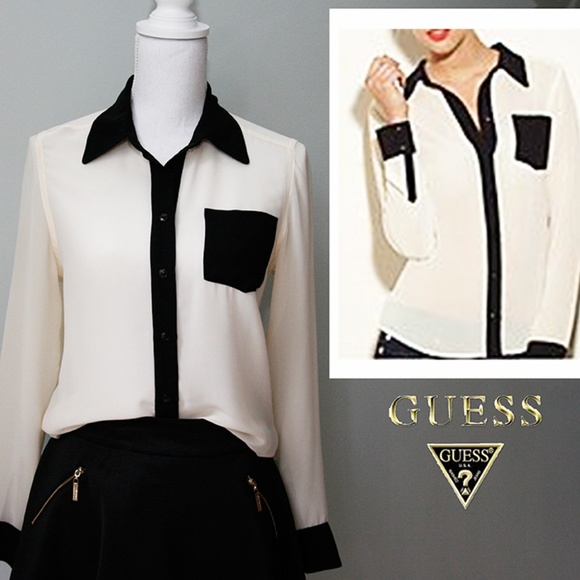 Guess Tops - GUESS Sheer Contrast Button Down Top